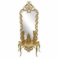 نمای کلی آینه و شمعدان برنزی طرح اسپادانا