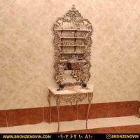 آینه کنسول برنزی پایه بلند پرداختی