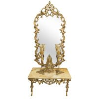آینه شمعدون برنزی عروس طرح امپراطور آنتیک