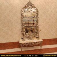 آینه کنسول برنزی عروس پایه کوتاه