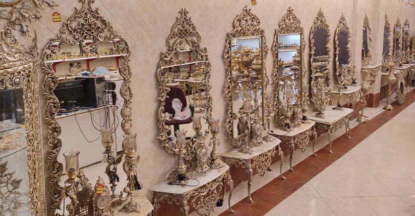 آینه کنسول و آینه شمعدان برنز عروس